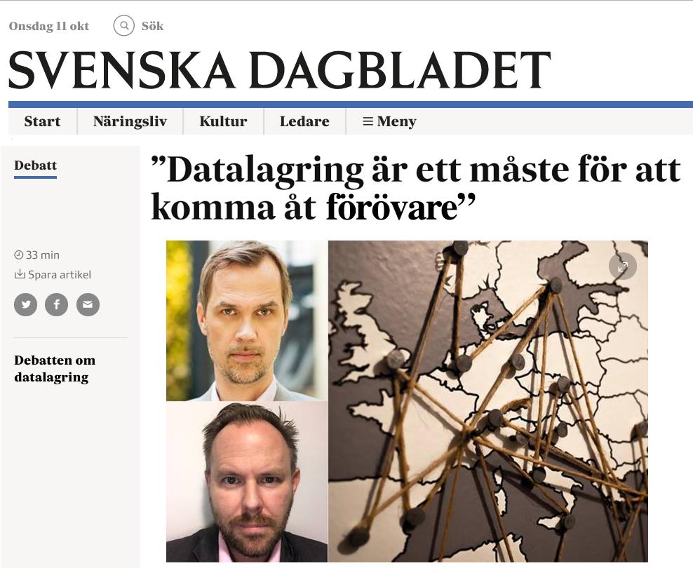 ECPATs debattartikel i Svenska Dagbladet, SvD, om datalagring